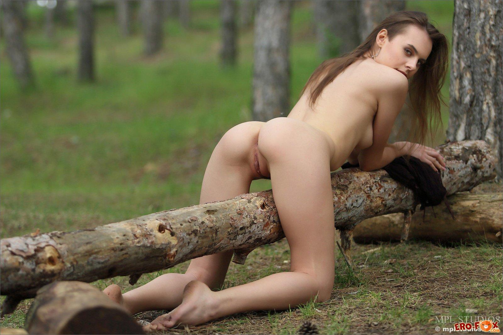 Красивая голая девушка раздевается в лесу